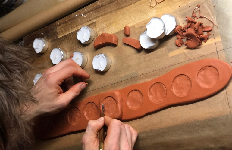 DIY menorah tutorial using sculpey clay and tealight candles