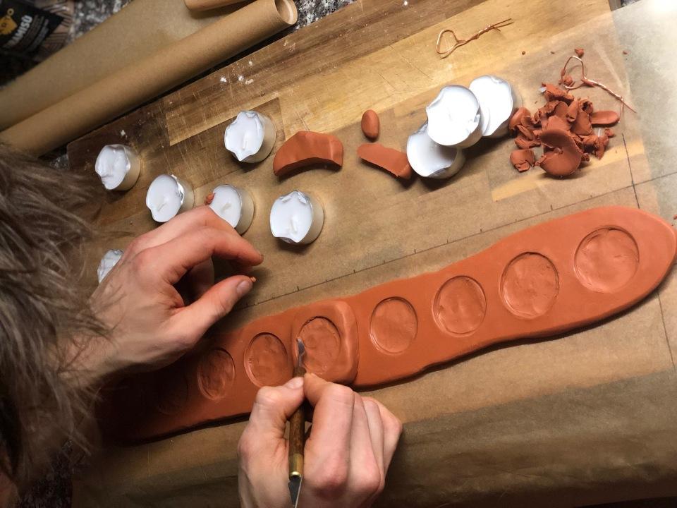 DIY menorah tutorial using sculpey clay and tealight candles