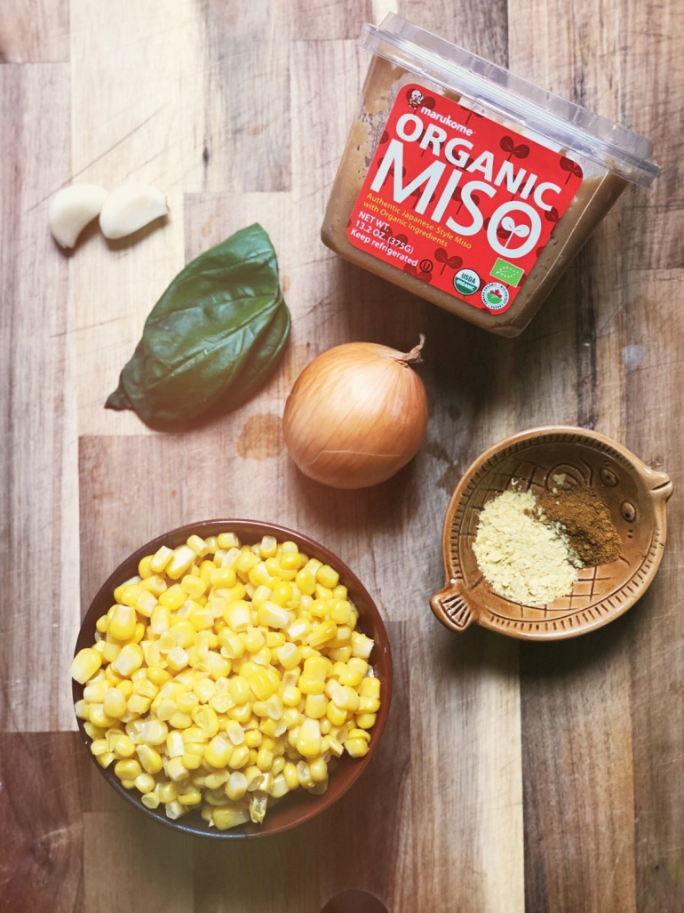 Ingredients for making miso corn chowder