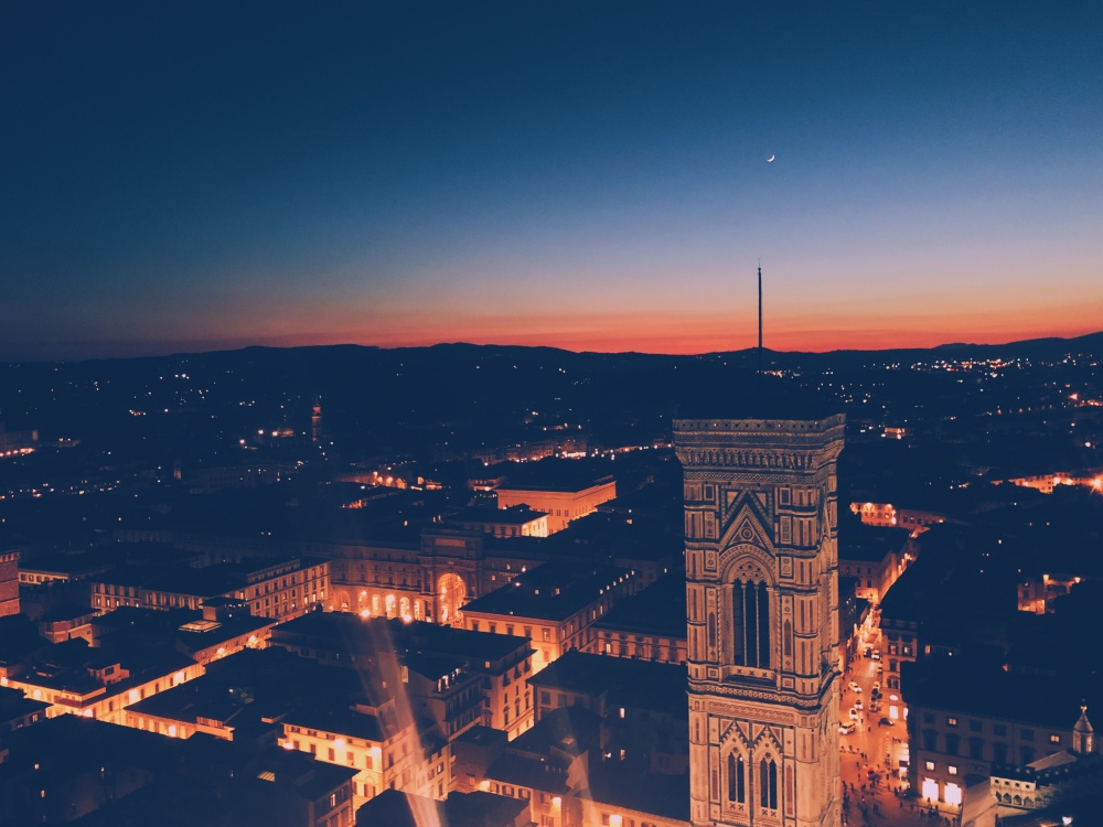 View of Florence Italy at Night from Il Duomo