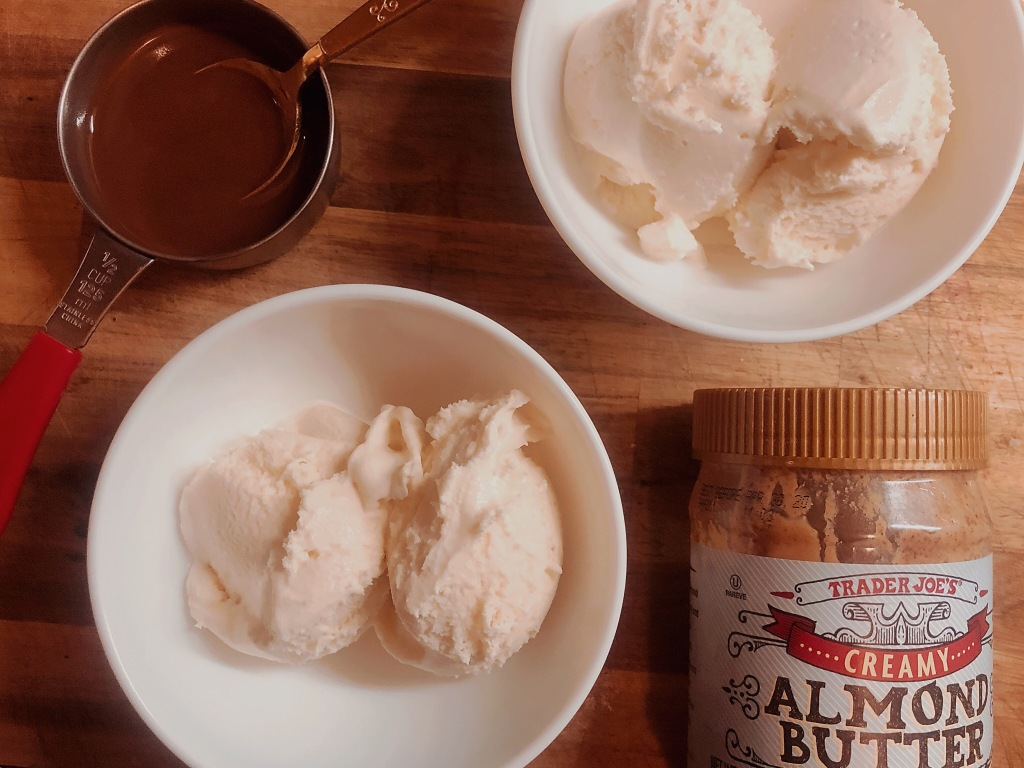 vanilla ice cream, trader joe's almond butter